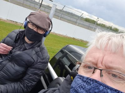 Me and Kevin Meredith in the tracking car